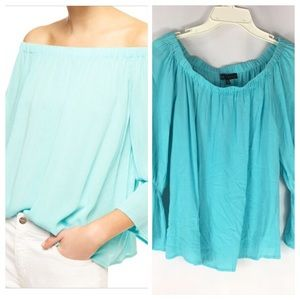 sanctuary blue off the shoulder bell sleeve top